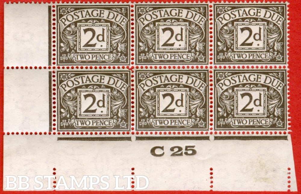 """SG. D13. 2d agate. A superb UNMOUNTED MINT control """" C25 imperf """" block of 6. A very scarce multiple."""