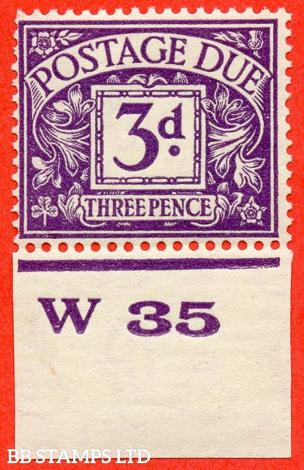 """SG. D14. R14. 3d dull violet. A fine mounted mint control """" W35 imperf """" example."""