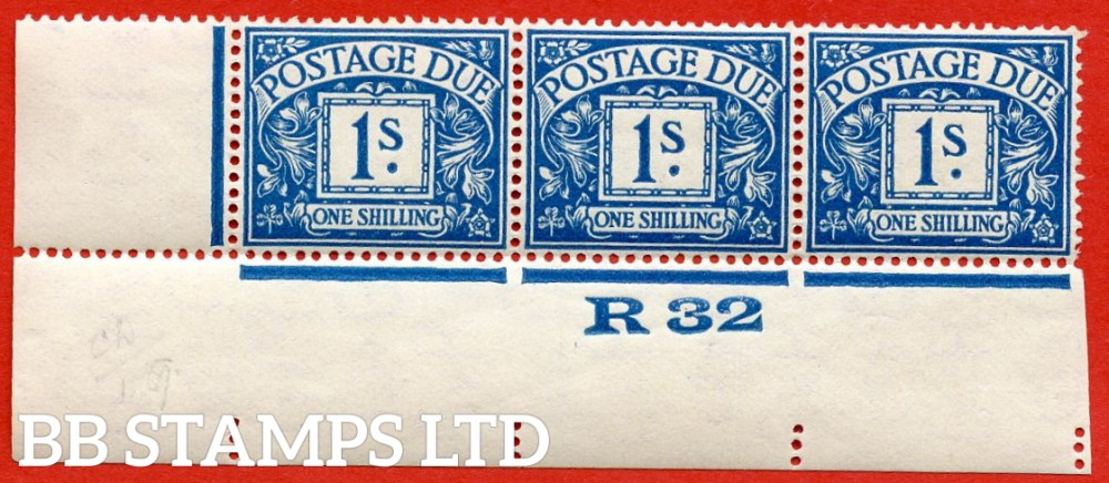 """SG. D17. R17. 1/- deep blue. A fine lightly mounted mint """" control R32 imperf """" strip of 3. A very scarce multiple."""