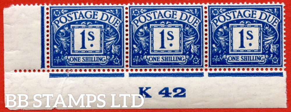 "SG. D33. R33. 1/- deep blue. A UNMOUNTED MINT ( mounted in the margin only ) "" control K42 imperf "" strip of 3. A very scarce multiple."