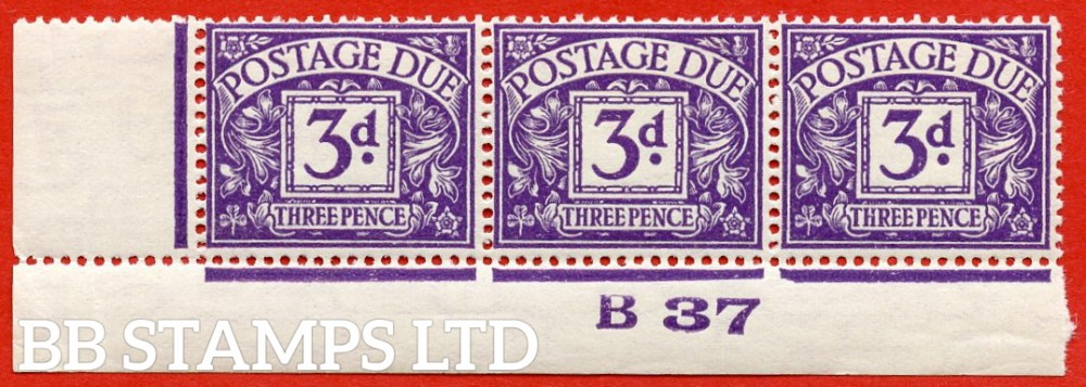 "SG. D30. R30. 3d violet. A fine UNMOUNTED MINT "" control B37 imperf "" strip of 3. A scarce multiple."