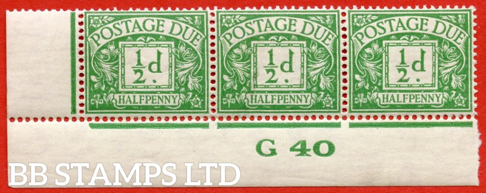 "SG. D27. R27. ½d emerald.  A fine UNMOUNTED MINT "" control G40 imperf "" strip of 3. A scarce multiple."