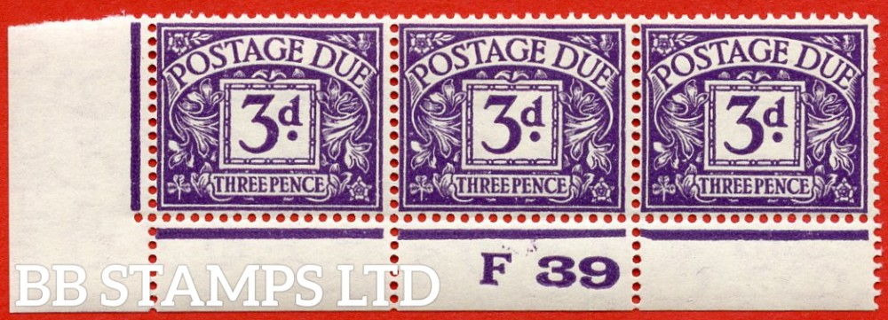 "SG. D30. R30. 3d violet. A fine lightly mounted mint "" control F39 perf "" strip of 3. A very scarce multiple."