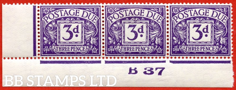 "SG. D30. R30. 3d violet. A fine lightly mounted mint "" control B37 imperf "" strip of 3. A scarce multiple."