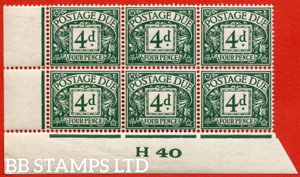 "SG. D31. R31. 4d dull grey - green. A superb UNMOUNTED MINT "" control H40 imperf "" block of 6. A very scarce multiple."