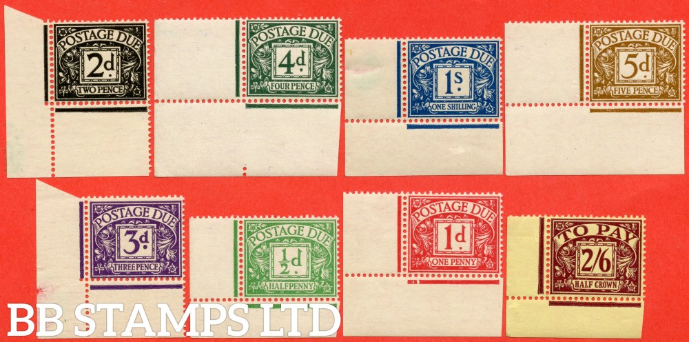 SG. D27 - D34. R27 - R34. ½d emerald - 2/6 purple / yellow.  A super UNMOUNTED MINT ( couple are mounted in the margin ) complete set of 8 in matching bottom left hand corners.