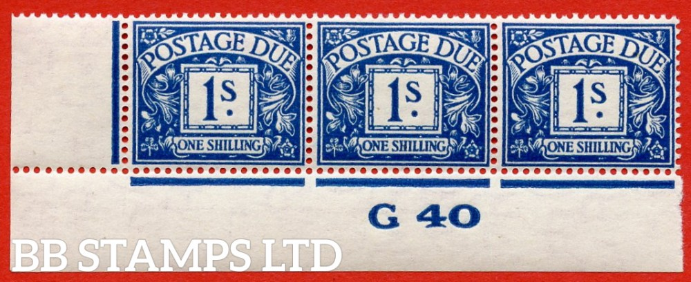 "SG. D33. R33. 1/- deep blue. A fine lightly mounted mint "" control G40 imperf "" strip of 3. A very scarce multiple."