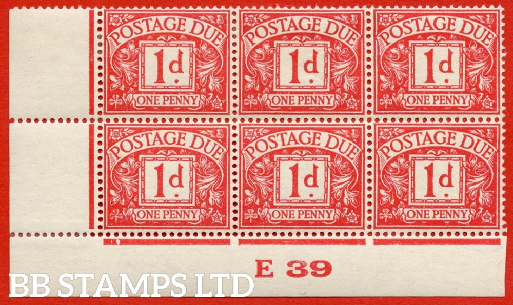 "SG. D28. R28. 1d carmine. A fine lightly mounted mint "" control E39 imperf "" block of 6."