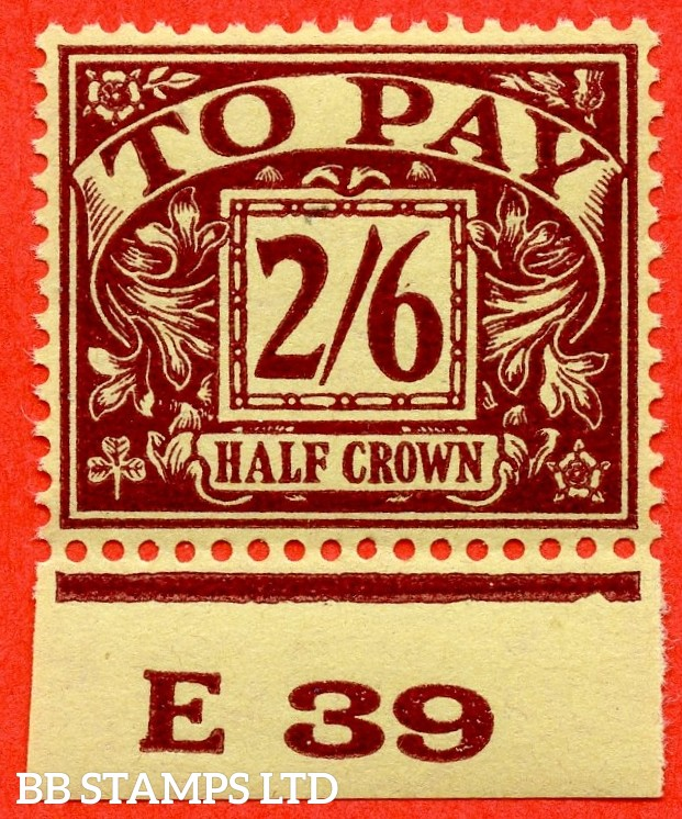 """SG. D34. R34. 2/6 Purple / yellow. A super UNMOUNTED MINT """" control E39 imperf  """" example."""