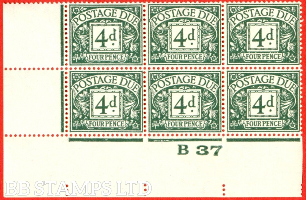 "SG. D31. 4d dull grey - green. A very fine mint control "" B37 imperf "" block of 6. A very scarce multiple."
