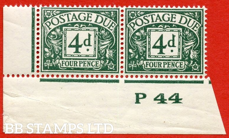 "SG. D31. R31. 4d dull grey - green. A superb UNMOUNTED MINT( mounted in the margin only ) "" control P44 imperf "" bottom left hand corner pair."