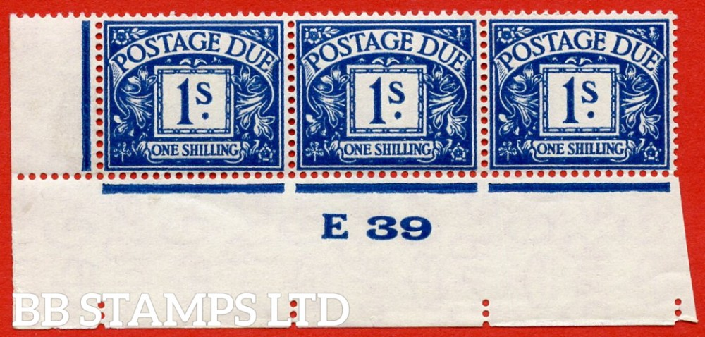 "SG. D33. R33. 1/- deep blue. A UNMOUNTED MINT "" control E39 imperf "" strip of 3. A very scarce multiple."