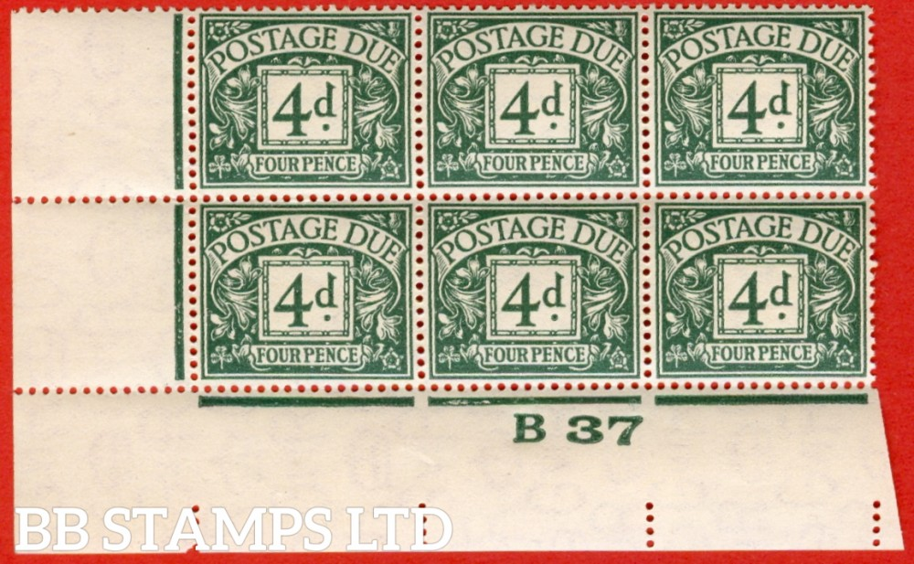 "SG. D31. 4d dull grey - green. A superb UNMOUNTED MINT control "" B37 imperf "" block of 6. A very scarce multiple."