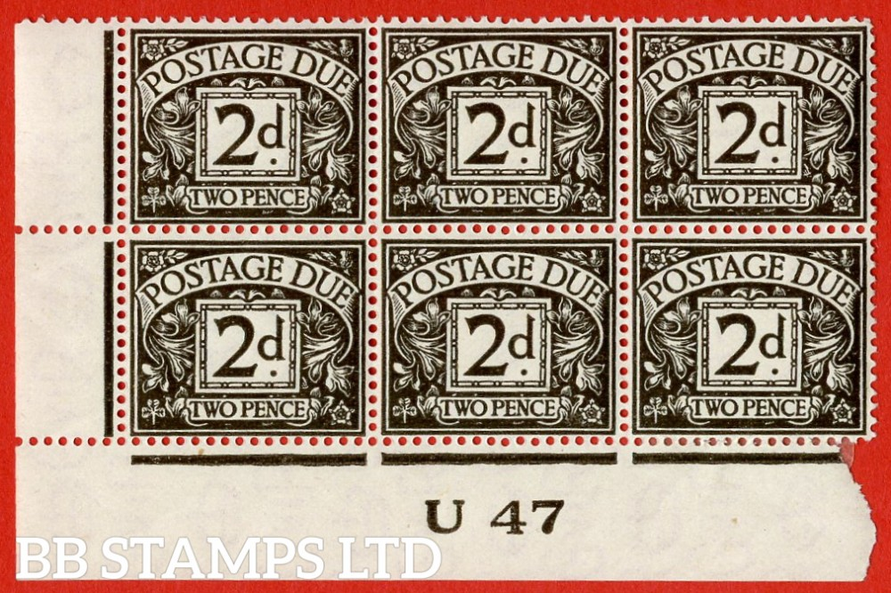 "SG. D29. R29. 2d agate.  A fine lightly mounted mint "" control U47 imperf "" block of 6. A scarce multiple."