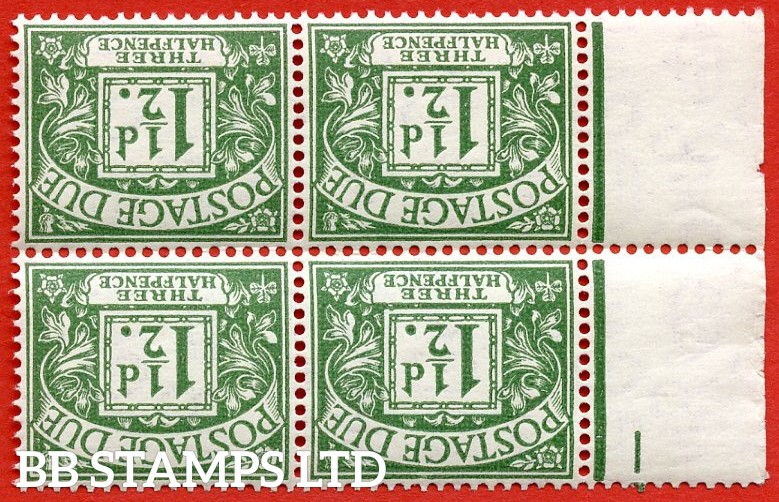 SG. D37 wi. 1½d green. INVERTED WATERMARK. A superb UNMOUNTED MINT left hand marginal block of 4 example of this scarce watermark variety.