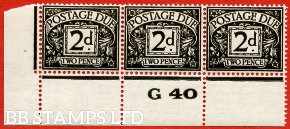 "SG. D29. R29. 2d agate.  A fine lightly mounted mint control G40 perf "" strip of 3. A scarce multiple."