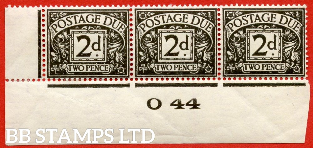 "SG. D29. R29. 2d agate.  A fine lightly mounted mint "" control O44 imperf "" strip of 3. A scarce multiple."