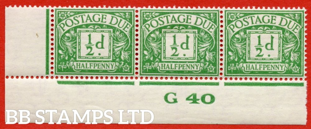 "SG. D27. R27. ½d emerald.  A fine lightly mounted mint "" control G40 imperf "" strip of 3. A scarce multiple."
