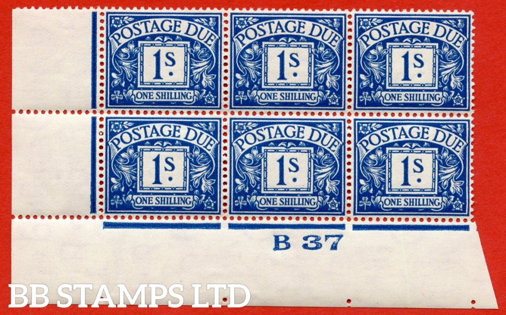 "SG. D33. R33. 1/- deep blue. A UNMOUNTED MINT "" control B37 imperf "" block of 6. A very scarce multiple."