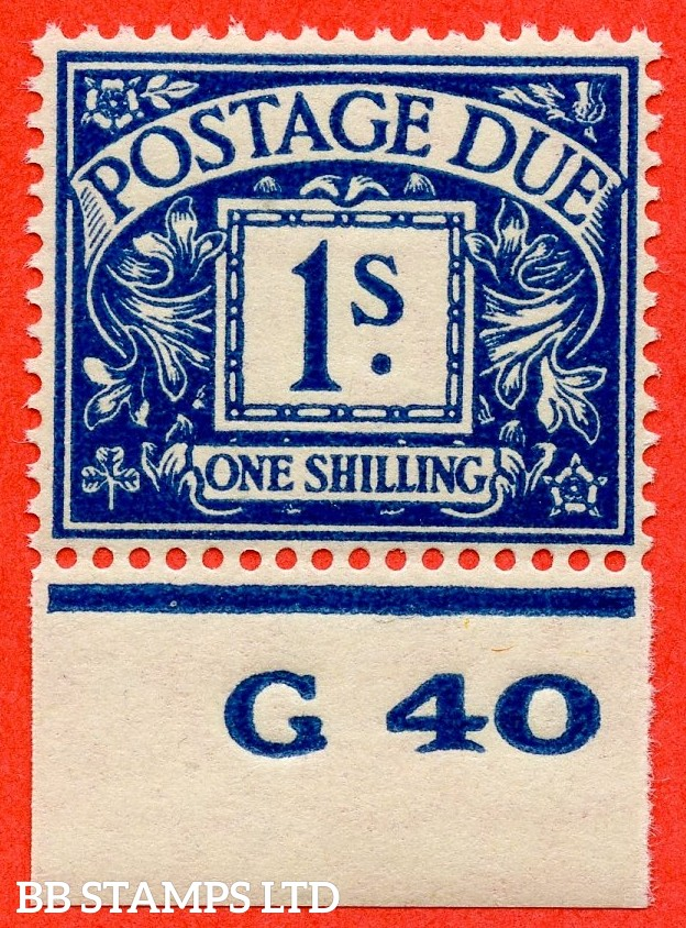 "SG. D33. R33. 1/- deep blue.  A fine UNMOUNTED MINT control "" G40 imperf "" example."