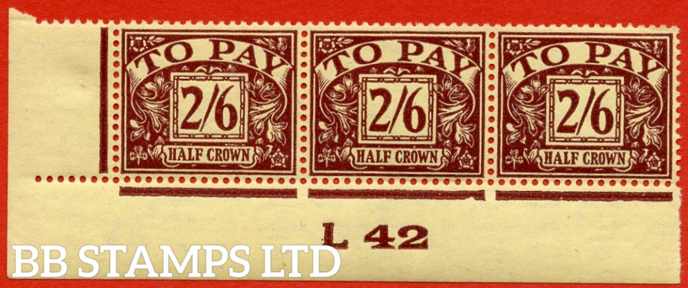 """SG. D34. R34. 2/6 Purple / yellow. A super UNMOUNTED MINT """" control L42 imperf  """" strip of 3. A VERY RARE multiple."""
