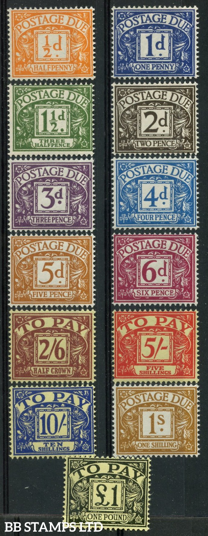 SG. D56 - D68. ½d - £1.00. POSTAGE DUE. A very fine UNMOUNTED MINT complete set of 13.