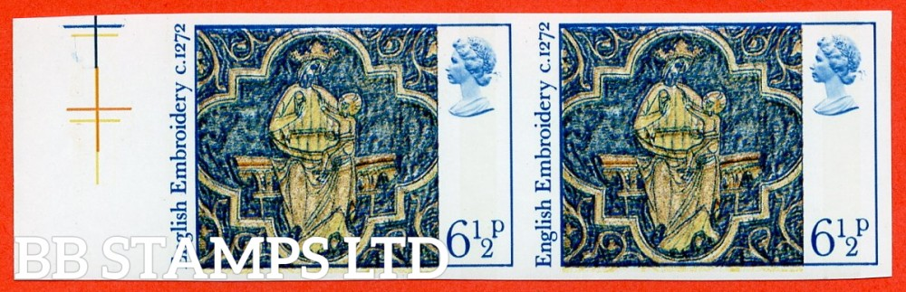 SG. 1018a. 6½p. Blue. Bistre-Yellow. Brown and Orange. A superb UNMOUNTED MINT left hand marginal horizontal pair.