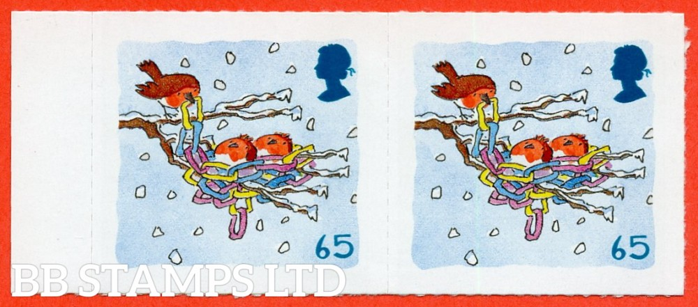 "SG. 2242 ab. 65p 2001 Christmas. A super UNMOUNTED MINT left hand marginal horizontal pair with the listed ERROR "" imperf ( pair ) die cut perforations only omitted ""."