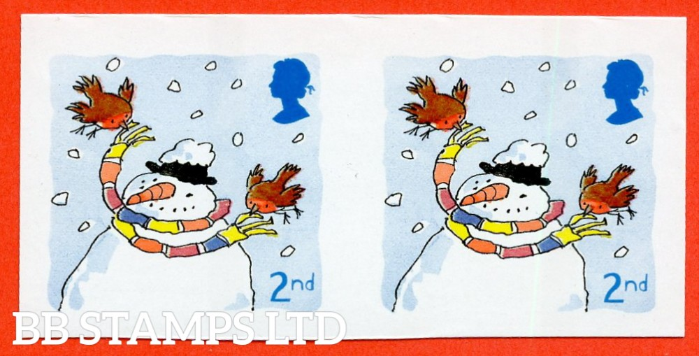 "SG. 2238 a. 2nd class 2001 Christmas. A super UNMOUNTED MINT "" IMPERF horizontal pair of this listed ERROR."