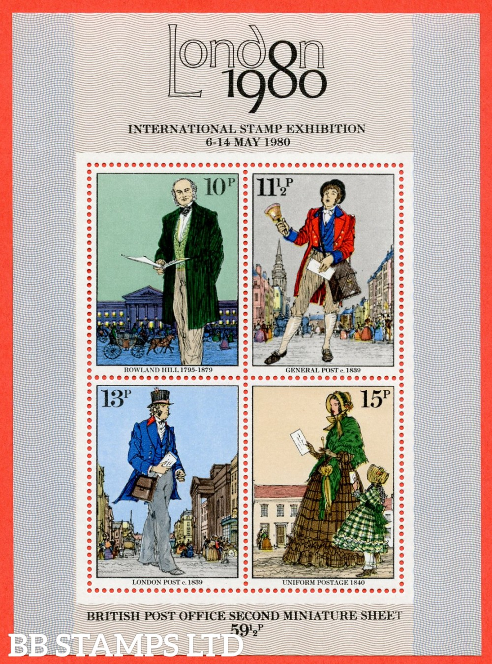 """SG. MS1099 c. 1979 Rowland Hill Miniature sheet. A super UNMOUNTED MINT example with the scarce """" MISSING GOLD """" error"""