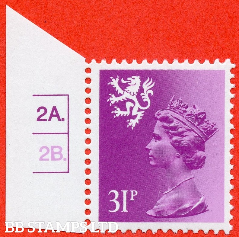 """SG. S51 Ea. 31p bright purple. Type II. A super UNMOUNTED MINT cylinder """" 2A 2B dot """" left hand marginal example."""