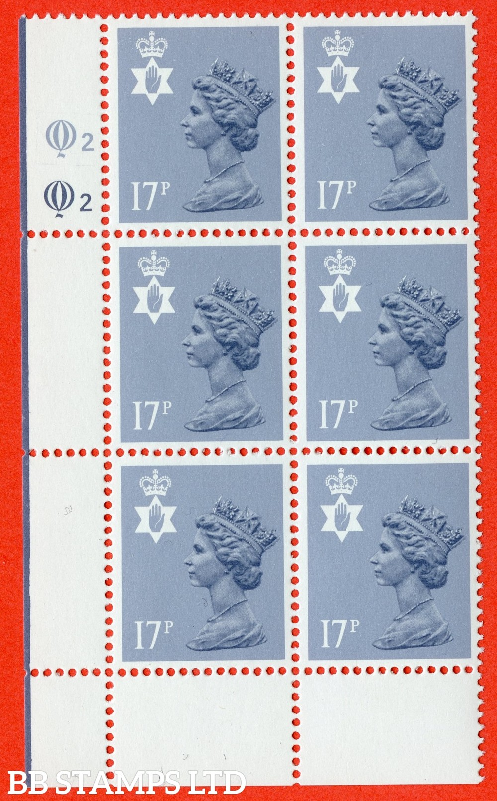 """SG. NI43 Ea. 17p grey - blue. Type II. A very fine UNMOUNTED MINT cylinder """" Q2 Q2 """" block of 6 of this scarce regional."""