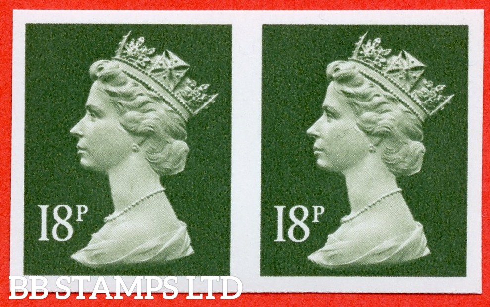 SG. X955 a. 18p deep olive - grey. IMPERF. A superb UNMOUNTED MINT horrizontal pair of this decimal machin ERROR.
