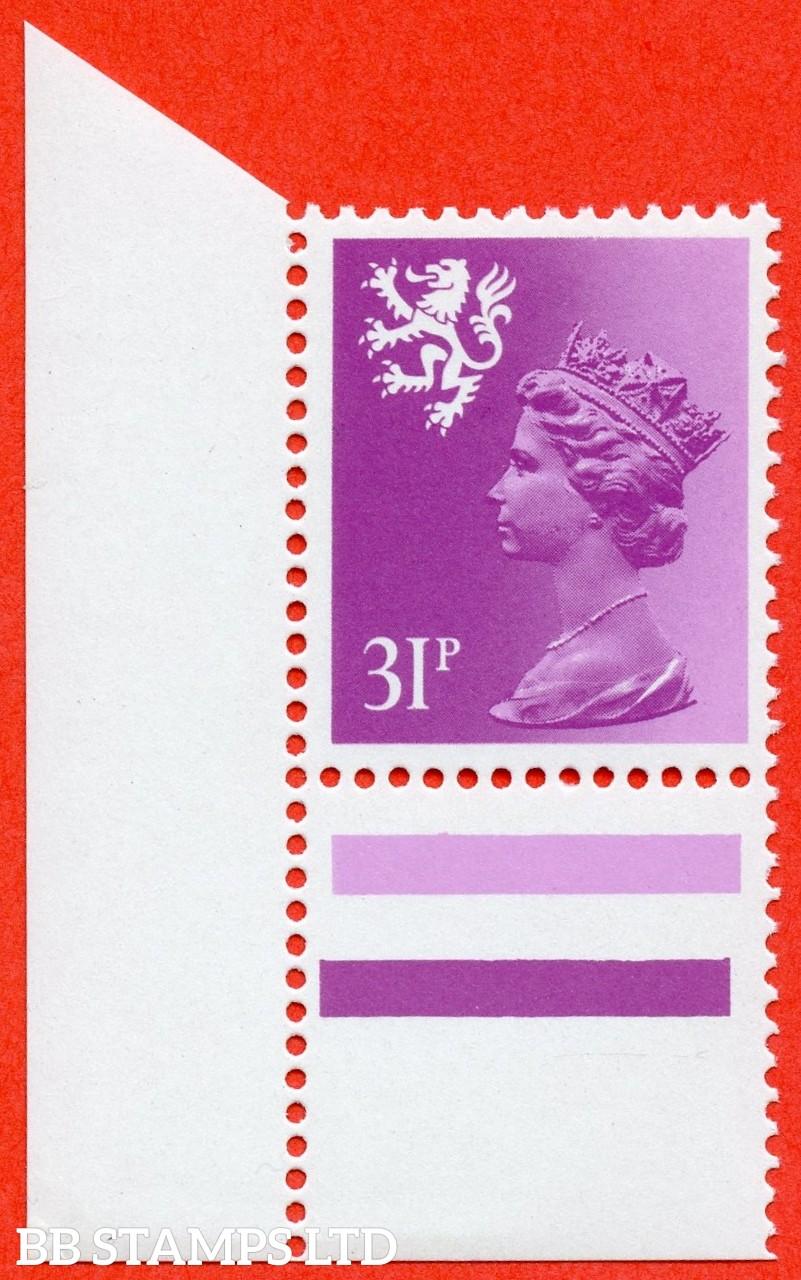 SG. S51 Ea. 31p bright purple. Type II. A super UNMOUNTED MINT bottom left hand corner marginal example.