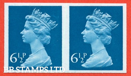 "SG. X872 a. 6½p greenish - blue. A superb UNMOUNTED MINT "" IMPERF "" error horizontal pair."