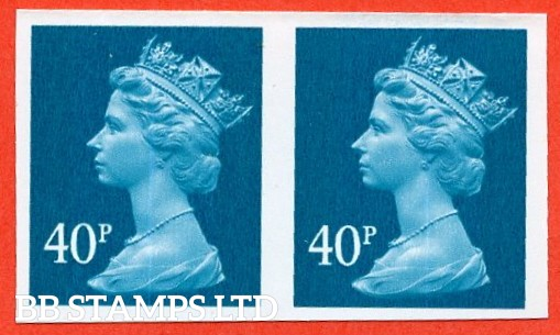 "SG. Y1711 a. 40p turquoise blue. A superb UNMOUNTED MINT "" IMPERF "" error horizontal pair."