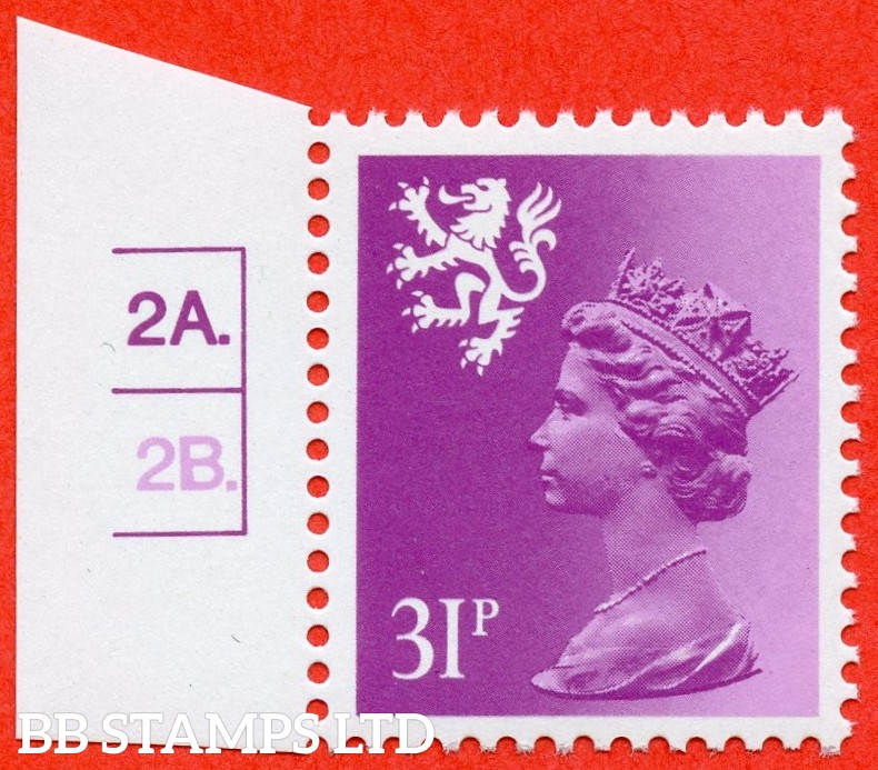 "SG. S51 Ea. 31p bright purple. Type II. A super UNMOUNTED MINT cylinder "" 2A 2B dot "" left hand marginal example."