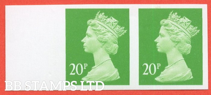 "SG. Y1685 a. 20p bright green. A superb UNMOUNTED MINT left hand marginal "" IMPERF "" error horizontal pair."
