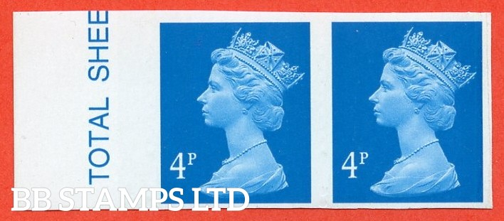 "SG. Y1669 a. 4p new blue. A superb UNMOUNTED MINT left hand marginal "" IMPERF "" error horizontal pair."