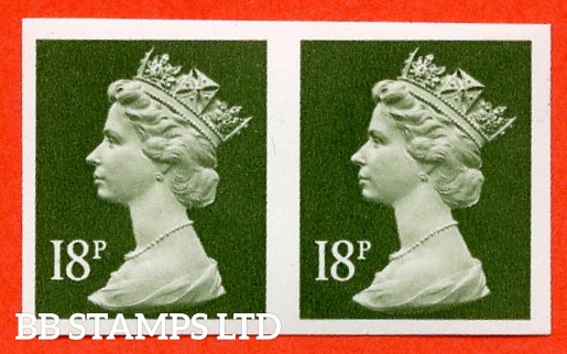 "SG. X955 a. 18p deep olive - grey. A superb UNMOUNTED MINT "" IMPERF "" error horizontal pair."