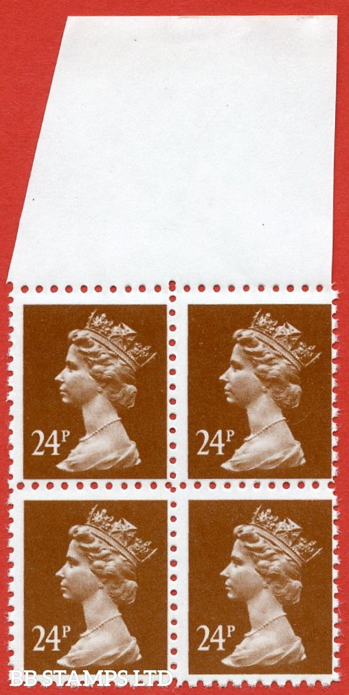 1993 ( SG. X969 ). 24p chestnut FORGERY. A superb UNMOUNTED MINT top marginal block of 4. Printed in sheets of 100 in Litho on phosphor free bright paper with perforation gauge 11.