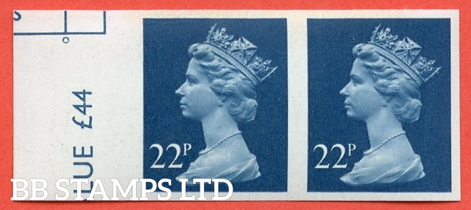 "SG. X962 a. 22p Blue. A superb UNMOUNTED MINT  left hand marginal "" IMPERF "" error horizontal pair."