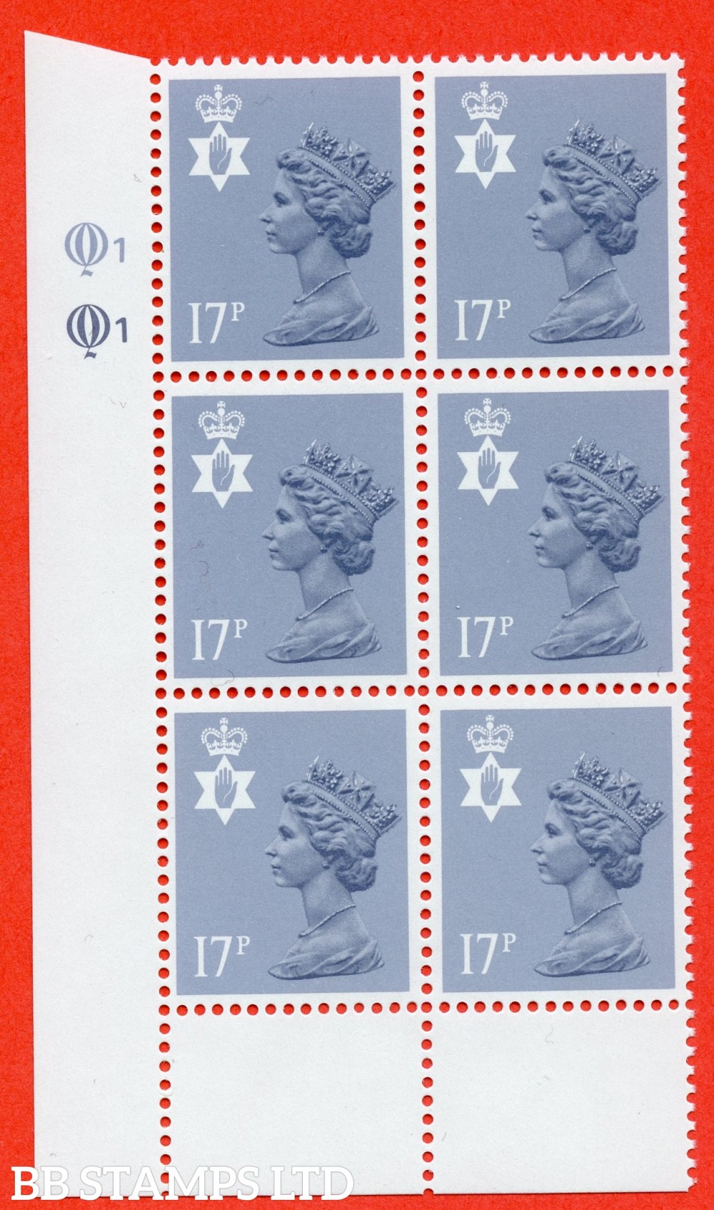 "SG. NI43 Ea. 17p grey - blue. Type II. A very fine UNMOUNTED MINT cylinder "" Q1 Q1 "" block of 6 of this scarce regional."