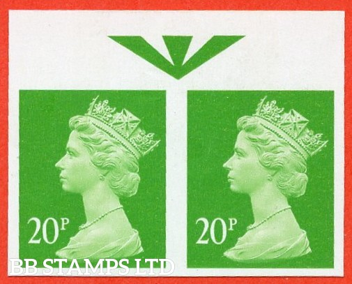 "SG. Y1685 a. 20p bright green. A superb UNMOUNTED MINT top marginal "" IMPERF "" error horizontal pair."