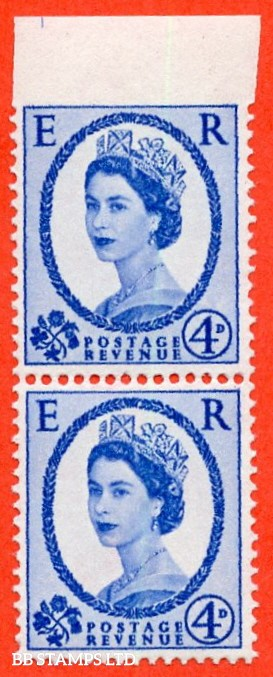 """SG. 576a.  S85 c. 4d dark ultramarine. A super UNMOUNTED MINT vertical pair with the listed """" IMPERF BETWEEN STAMP AND TOP MARGIN """" error."""