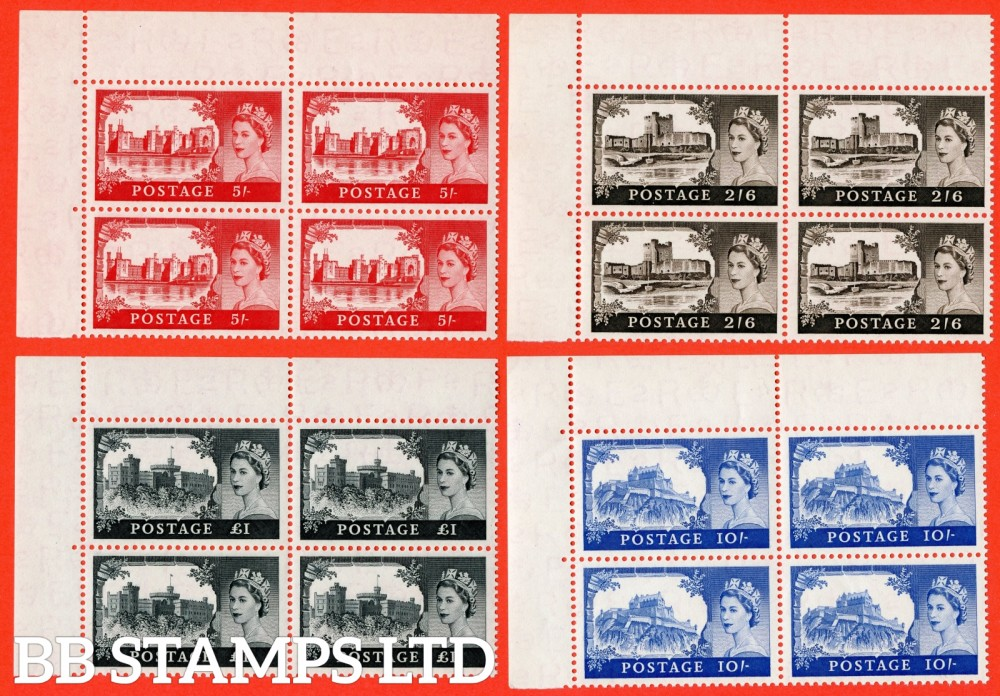 "SG. 536a - 539a. 2/6 - £1.00. "" 1st De La Rue "". A superb UNMOUNTED MINT complete set of 4 in matching top left hand bottom right hand corner marginal blocks of 4."