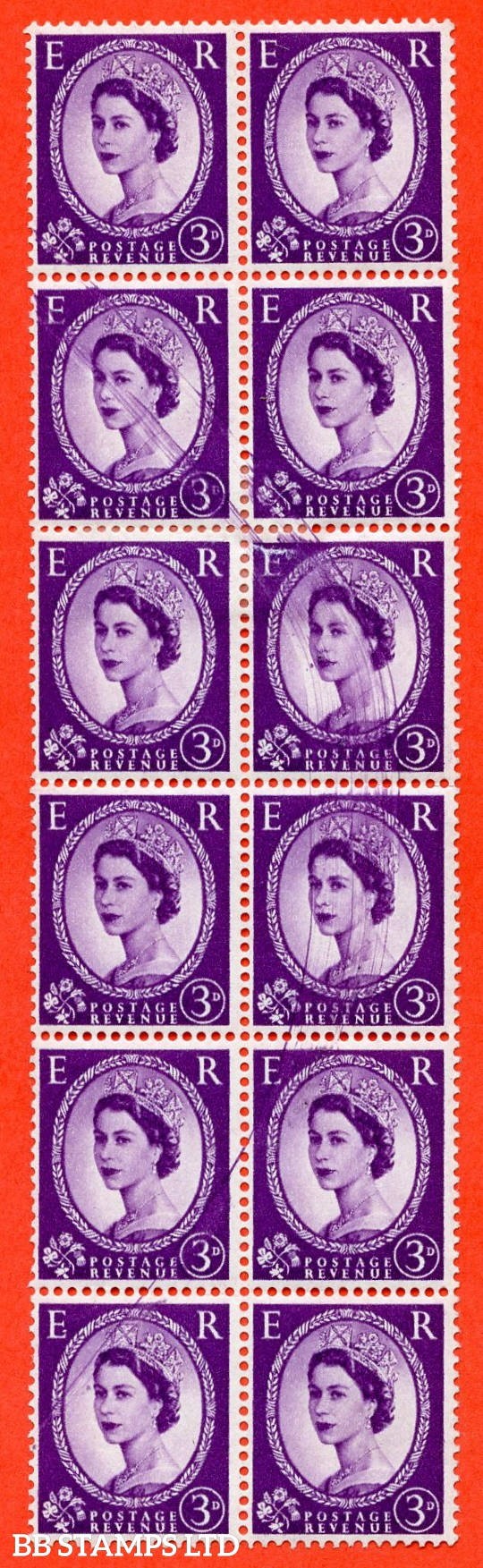 "SG. 575. 3d Deep Lilac. A fine mounted mint vertical block of 12 with a fine "" CURVED DOCTOR BLADE ERROR ""."