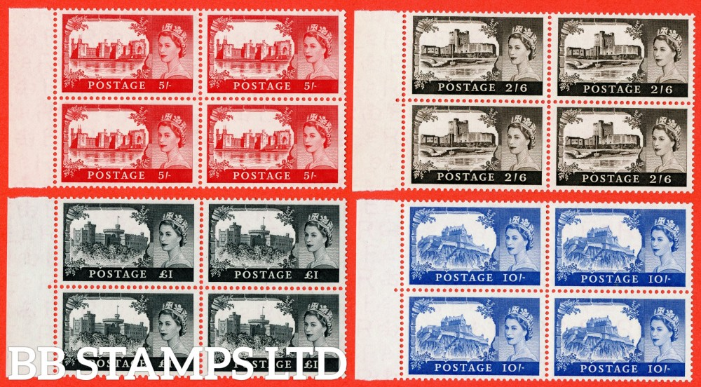 "SG. 536a - 539a. 2/6 - £1.00. "" 1st De La Rue "". A superb UNMOUNTED MINT complete set of 4 in matching left hand hand corner marginal blocks of 4."