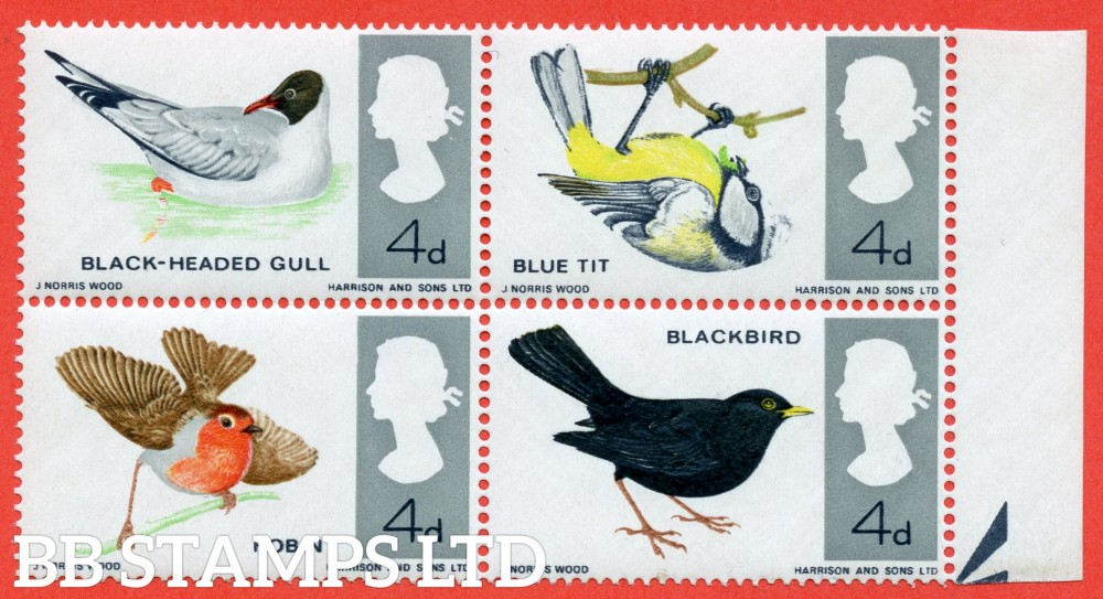 "SG. 696 a g. 4d "" BIRDS "". A superb UNMOUNTED MINT right hand marginal  block of 4 with the scarce variety "" MISSING BRIGHT BLUE"" error."