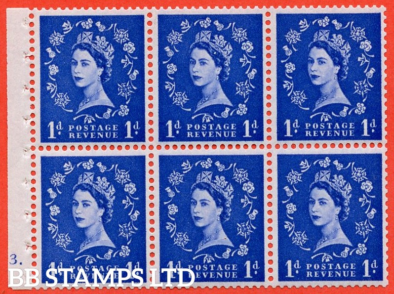 "SG. 571. SB30. 1d ultramarine. A fine UNMOUNTED MINT cylinder "" F3 dot "" complete booklet pane."